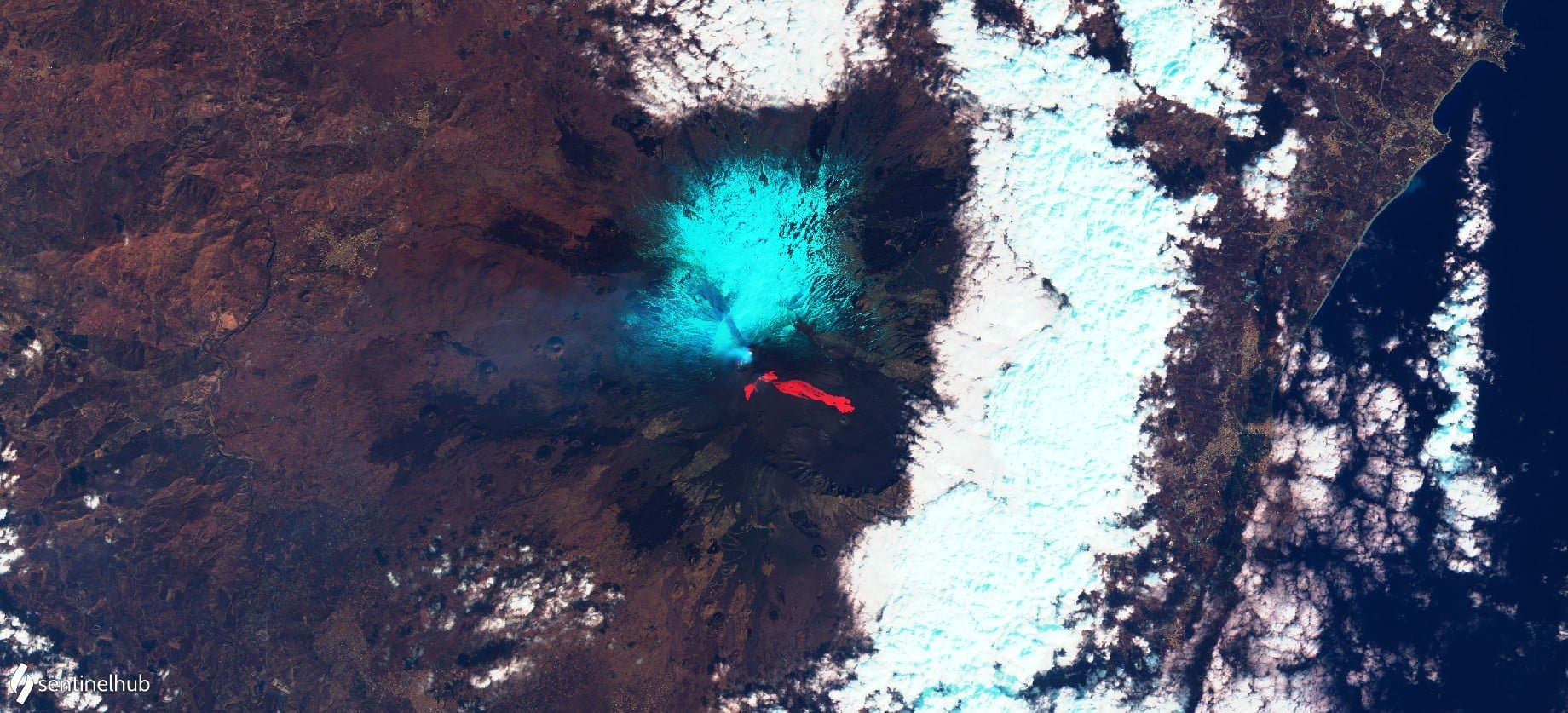 4th eruption, 20th feb 2021. View on eruption from Sentinel satellite