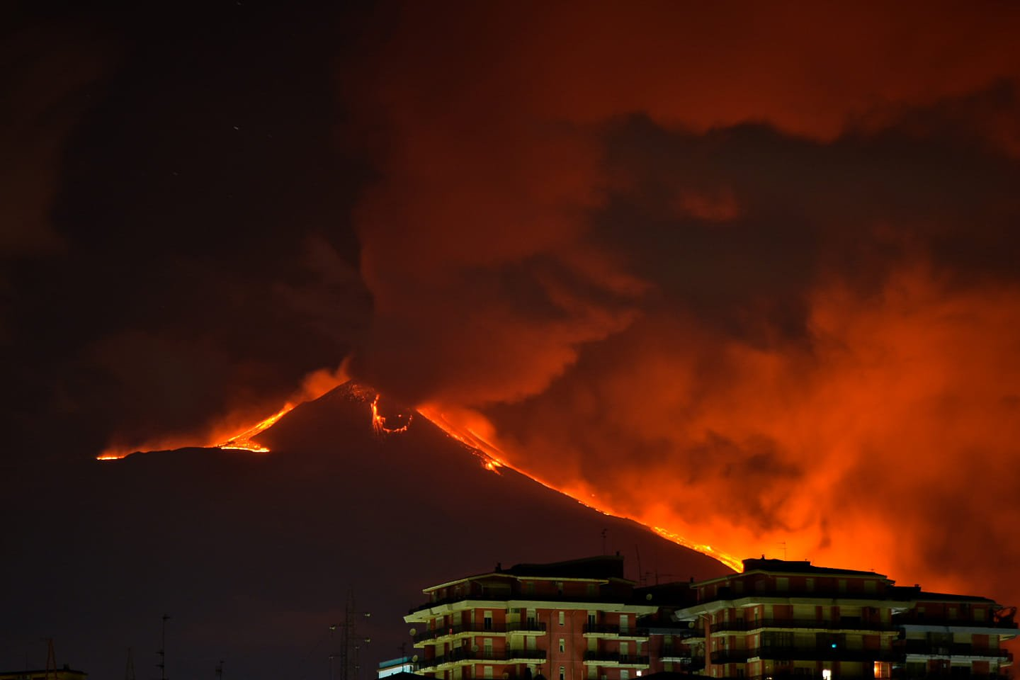 2nd eruption, 18th feb 2021. Etna with its lava flows, Enrico Indovina