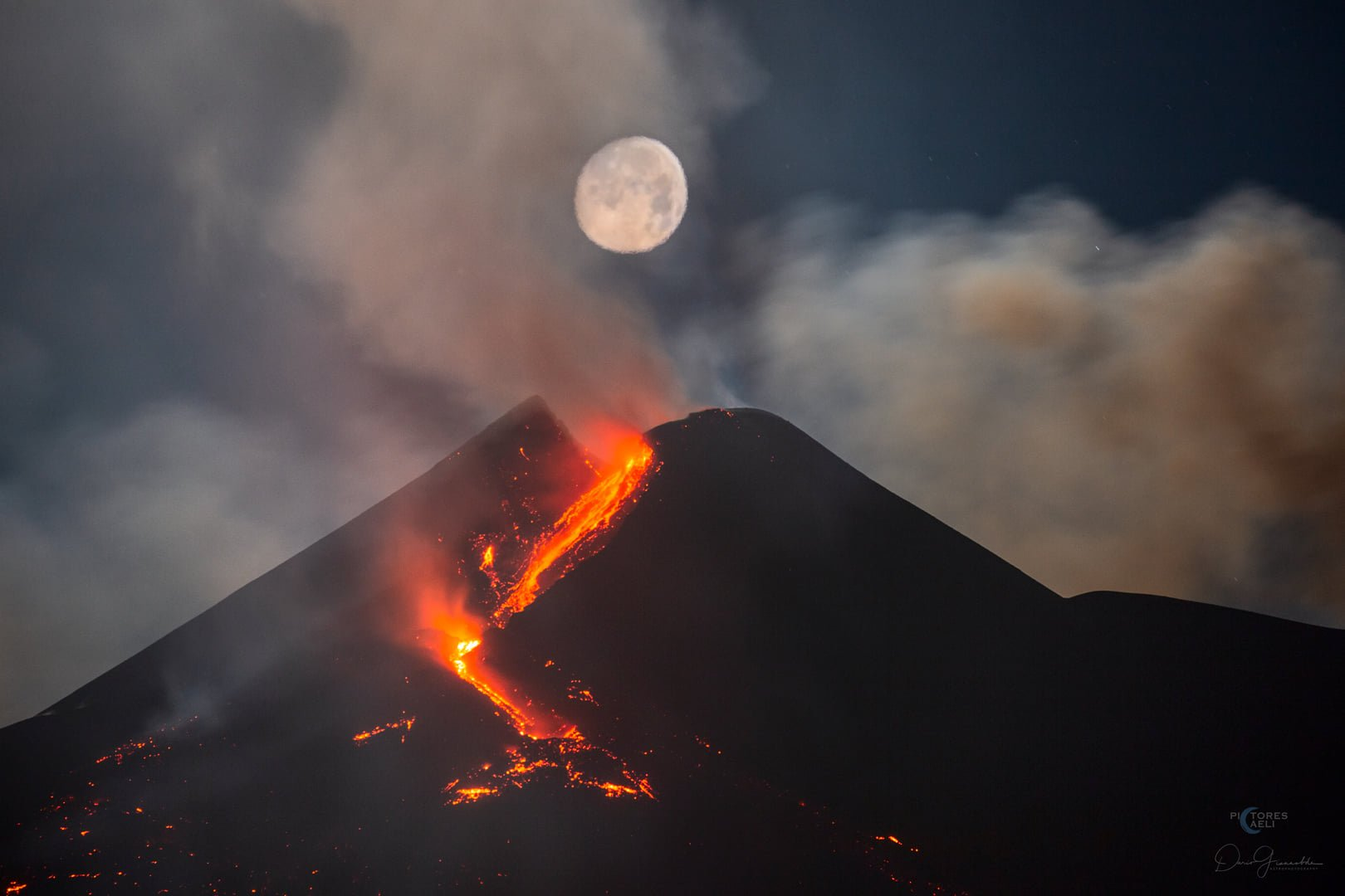 6th eruption, 24th feb 2021. Etna with full moon, Dario Giannobile