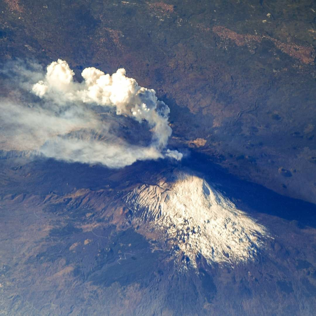 7th eruption, 28th feb 2021. Eruption from International Space Station