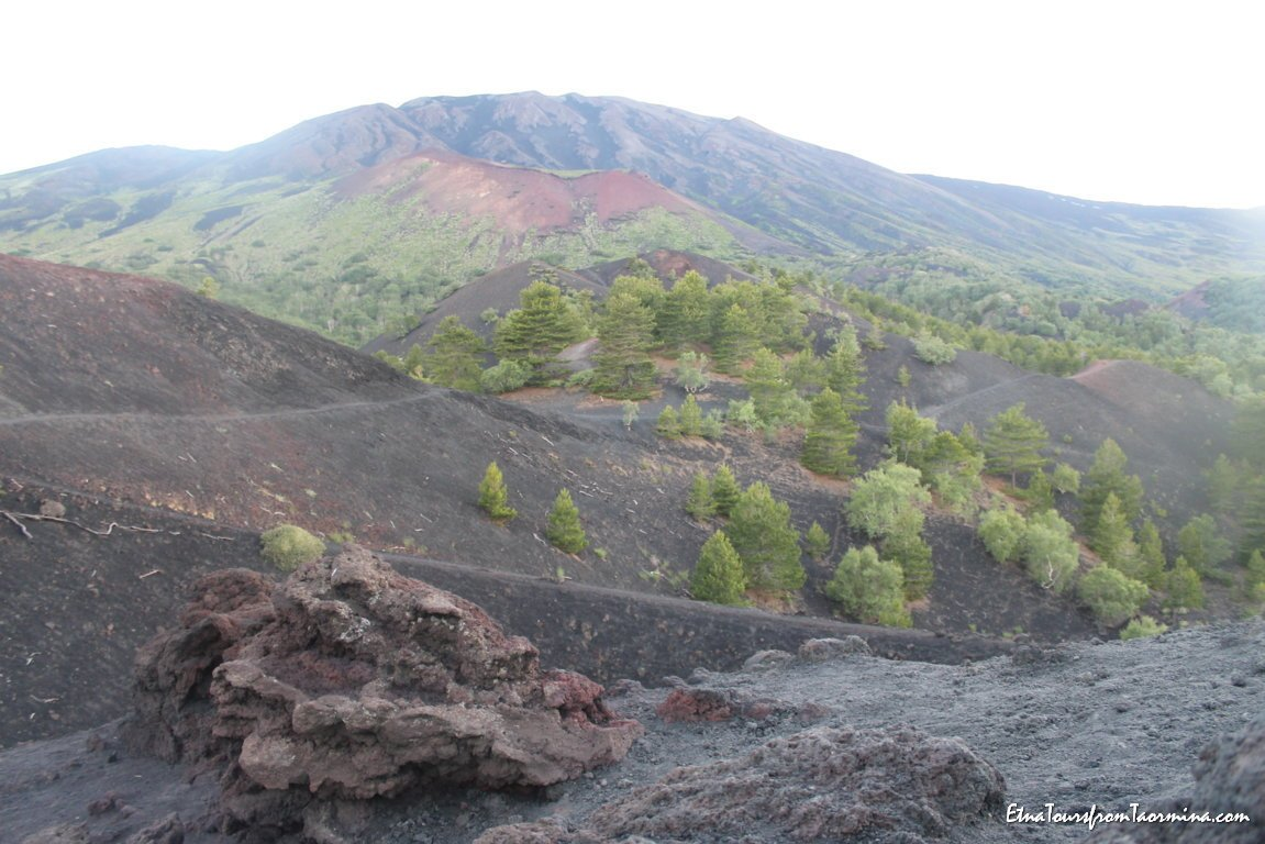 Walk on flank craters at sunset